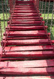 Wooden red stairs Stock Images