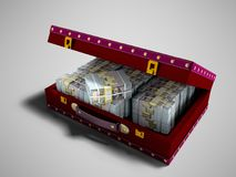 Wooden red suitcase with one million dollars inside with leather. Insets 3D render on gray background with shadow stock illustration