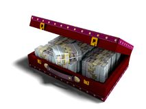 Wooden red suitcase with one million dollars inside with leather. Insets 3D render on white background with shadow royalty free illustration