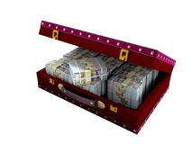 Wooden red suitcase with one million dollars inside with leather. Insets 3D render on white background no shadow royalty free illustration