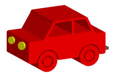 Wooden red toy car Stock Images
