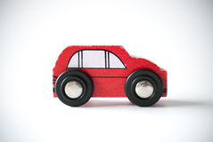 Wooden red toy car Stock Photos