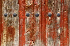 Wooden redish door texture Stock Photo