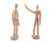 Wooden referee shows yellow card to player Stock Photography