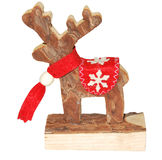Wooden reindeer. Isolated wooden christmas reindeer isolated on white stock images