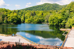 Wooden relaxing area on the sovata lake Royalty Free Stock Images