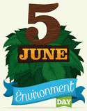 Wooden Reminder Date, Ribbon and Leaves for World Environment Day, Vector Illustration Stock Photo