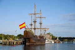Wooden Replica of Spanish Galleon Vessel in Portsmouth, New Hamp. Spanish Galleon replica docked at Portsmouth harbor in New Hampshire. It is one of many tourist Stock Photography