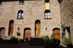 Wooden residential doorway Royalty Free Stock Photo