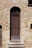 Wooden residential doorway Stock Photo