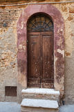 Wooden residential doorway Royalty Free Stock Image