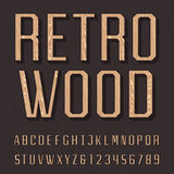 Wooden retro alphabet vector font. Royalty Free Stock Images