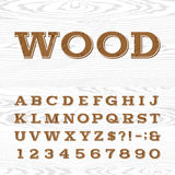 Wooden retro alphabet vector font. Royalty Free Stock Photo