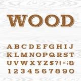 Wooden retro alphabet vector font. Royalty Free Stock Photo