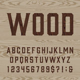 Wooden retro alphabet vector font. Royalty Free Stock Photography