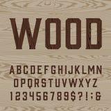 Wooden retro alphabet vector font. Royalty Free Stock Photography