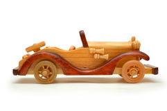 Wooden retro car. Isolated on white royalty free stock photography