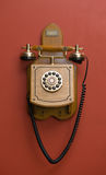Wooden retro phone Royalty Free Stock Image