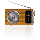 Wooden retro radio. Reflected against white background, abstract vector art illustration; image contains transparency and opacity mask Royalty Free Stock Images