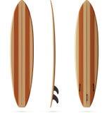 Wooden retro vector malibu surfing board Royalty Free Stock Photos
