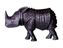 Wooden rhino. Figurine wooden rhino on white background Stock Images