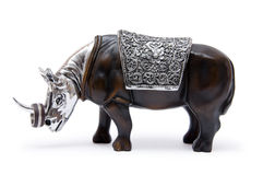 Wooden rhino. Jewelry holder in the form of wooden rhino isolated on a white background Royalty Free Stock Images