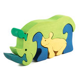 Wooden rhino toy Royalty Free Stock Photography