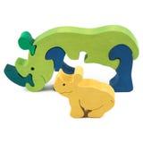 Wooden rhino toy Stock Image