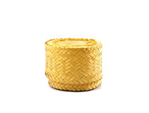 Wooden rice box thai style on white background Royalty Free Stock Photos