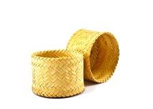 Wooden rice box thai style on white background Stock Photos