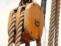 Wooden rigging block Royalty Free Stock Photos