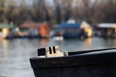 Wooden river boat close take stock photo