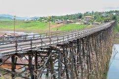 Wooden river bridge Stock Photo