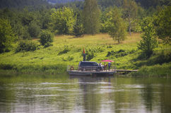 Wooden river ferry, Lithuania Stock Photo
