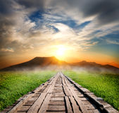 Wooden road in the mountains Royalty Free Stock Images