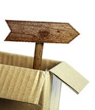 Wooden road sign out of box Stock Photo