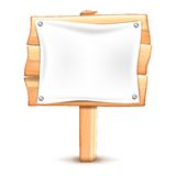 Wooden road sign. S with placard on a white background Stock Image