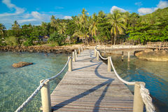Wooden road to island. At kohkood thailand Stock Photography