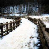 Wooden Road. In winter Royalty Free Stock Photography