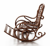 Wooden rocking chair  on white background. 3D illustration.  Stock Image