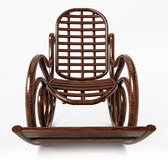 Wooden rocking chair  on white background. 3D illustration.  Royalty Free Stock Photo