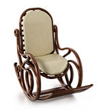 Wooden rocking chair  on white background. 3D illustration.  Royalty Free Stock Photography