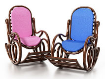 Wooden rocking chair  on white background. 3D illustration.  Royalty Free Stock Image