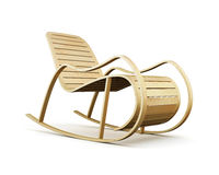 Wooden rocking chair  on white background. 3d rendering Royalty Free Stock Image