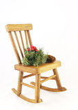 Wooden Rocking Chair With Christmas Decorations Royalty Free Stock Image