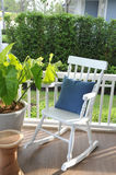 Wooden rocking chairs Stock Photos