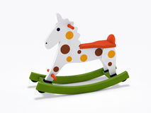 Wooden rocking horse. 3d rendered wooden rocking horse  on white background Stock Photos