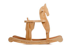 A wooden rocking horse on white Royalty Free Stock Photo