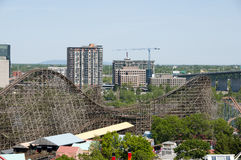 Wooden Roller Coaster stock image