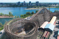 Wooden roller coaster Royalty Free Stock Images